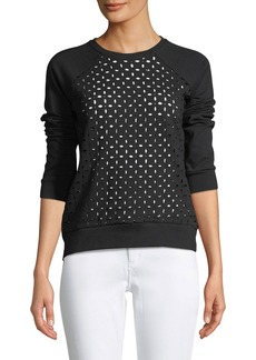 Neiman Marcus Laser-Cut Pullover Crewneck Sweatshirt