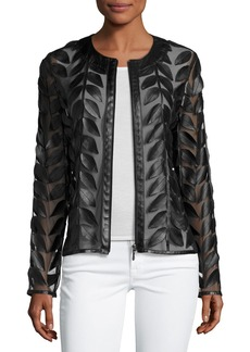 Neiman Marcus Leather Leaf-Trimmed Sheer Organza Jacket  Black