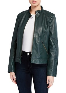 Neiman Marcus Leather Moto Jacket with Ribbed Cuffs