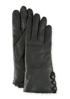 Neiman Marcus Leather Tech Gloves w/ Faux-Fur Lining