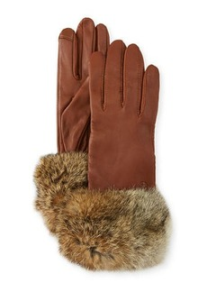 Neiman Marcus Leather Tech Gloves w/ Fur Cuffs