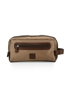 Neiman Marcus Leather-Trim Nylon Toiletry Bag