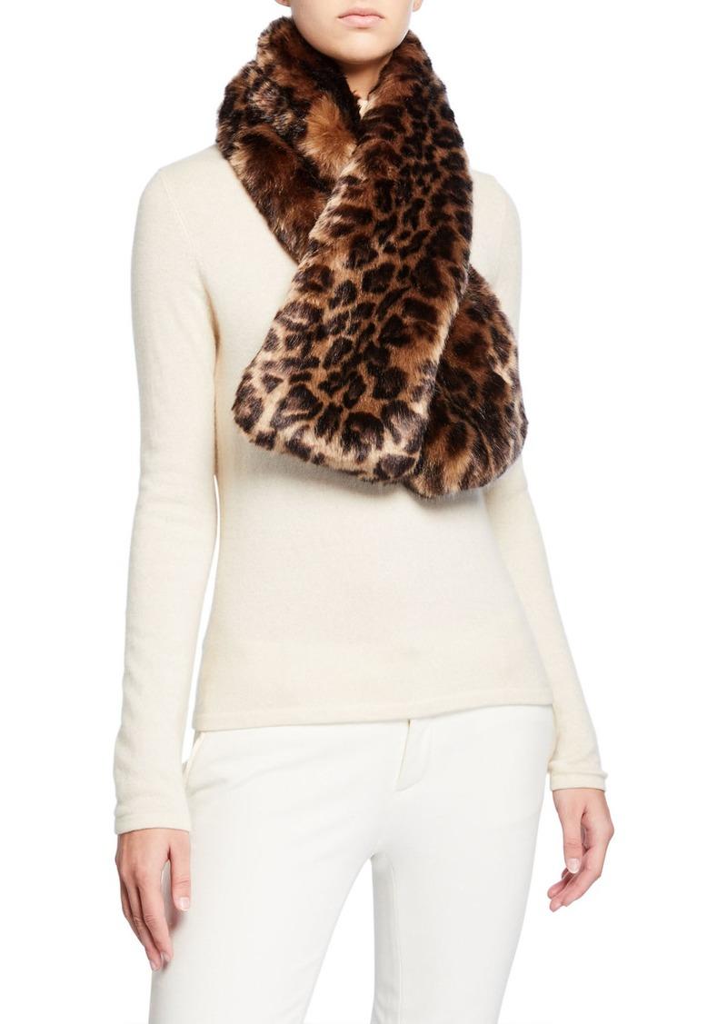 Neiman Marcus Leopard Faux Fur Scarf