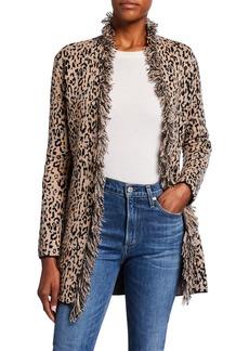 Neiman Marcus Leopard Intarsia Double-Knit Fringe Trim Cashmere Cardigan