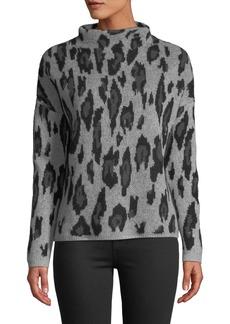 Neiman Marcus Leopard-Jacquard Cashmere Mock-Neck Sweater