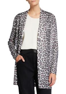 Neiman Marcus Leopard Metallic Duster Cardigan