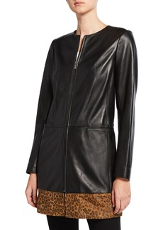 Neiman Marcus Leopard-Print Block Topper Jacket