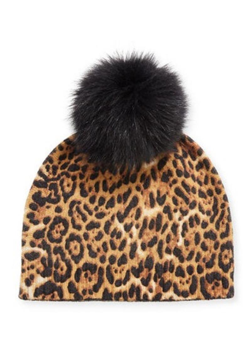 Neiman Marcus Leopard-Print Cashmere Beanie w/ Fur Pompom