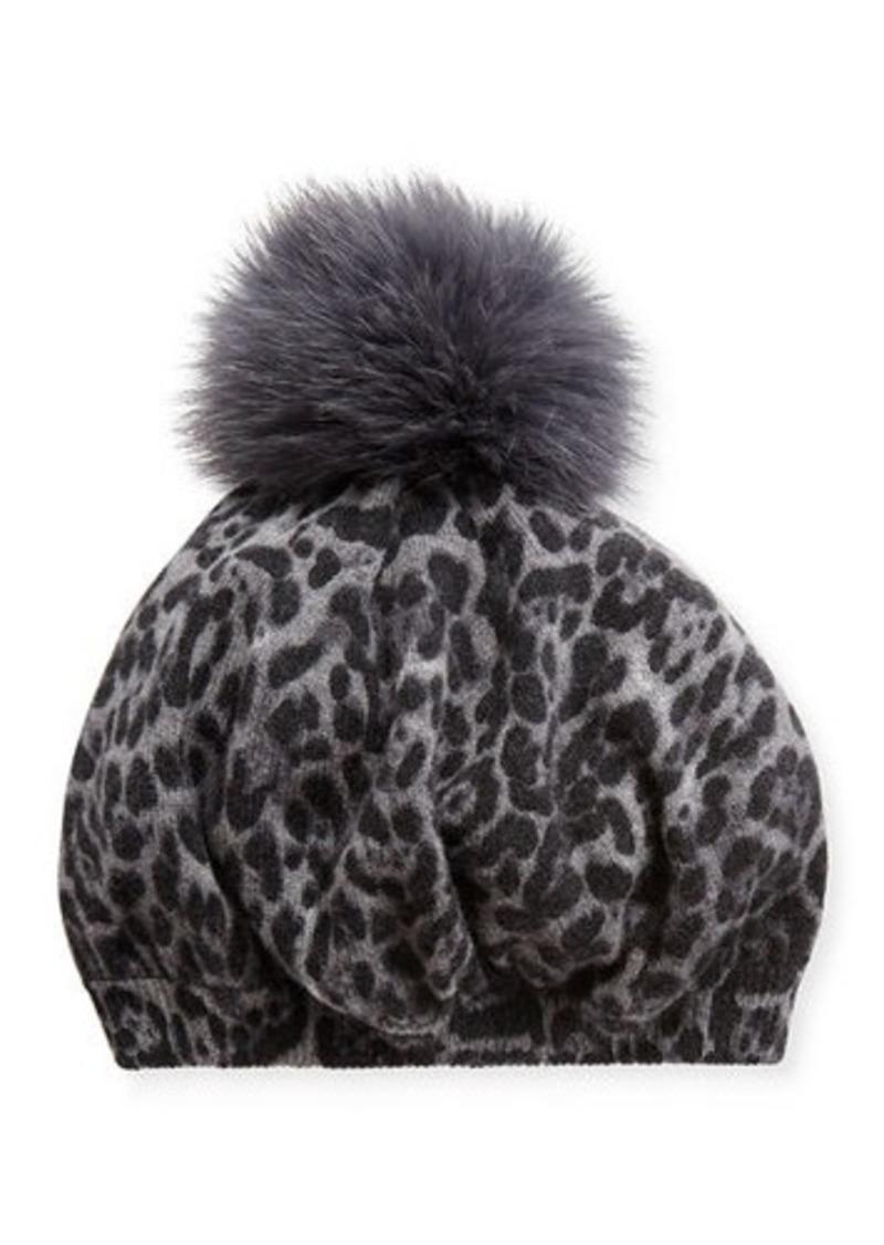 Neiman Marcus Leopard-Print Cashmere Beret w/ Fur Pompom
