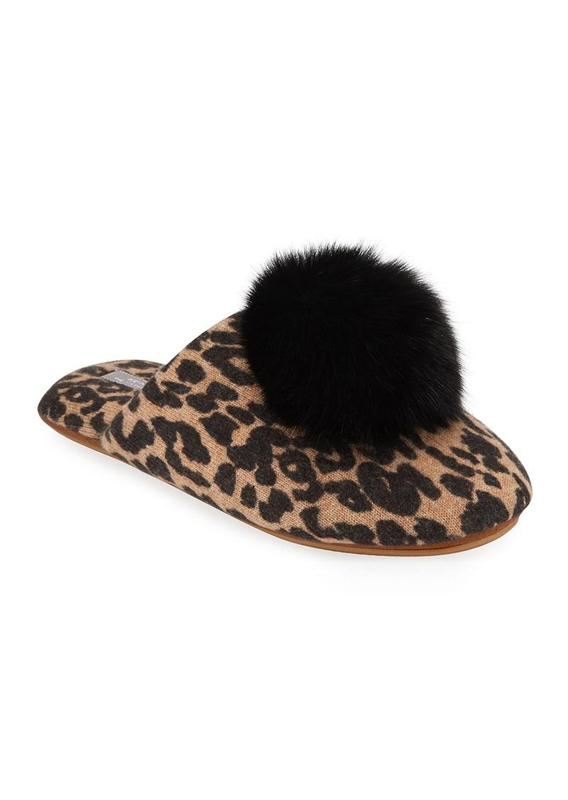 Neiman Marcus Leopard-Print Cashmere Fox Fur-Trim Slippers