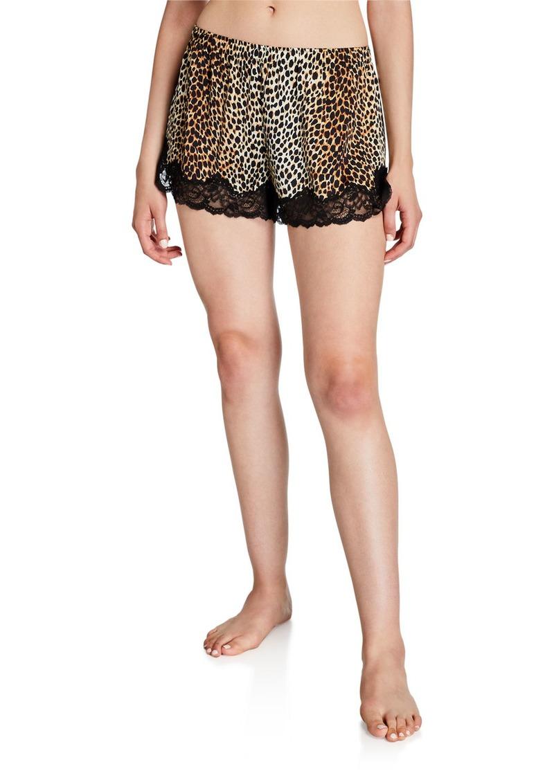 Neiman Marcus Leopard-Print Lace-Trim Silk Shorts
