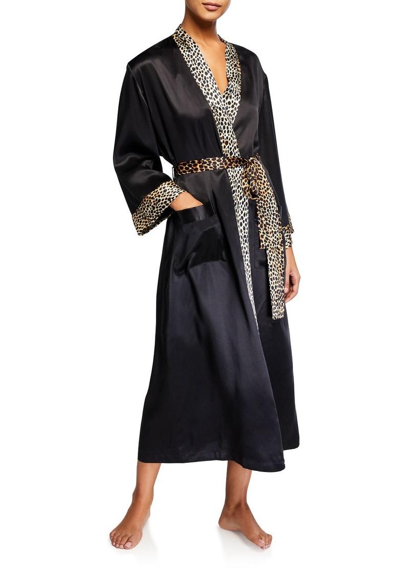 Neiman Marcus Leopard-Trim Silk Long Robe