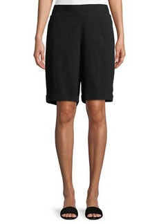 Neiman Marcus Linen Bermuda Cuffed Shorts