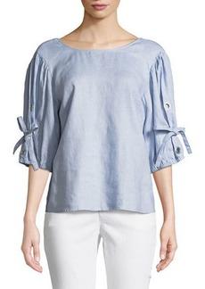 Neiman Marcus Linen Tie-Sleeve Blouse