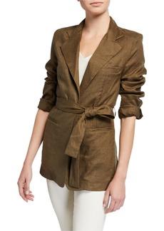 Neiman Marcus Linen Tie-Waist Jacket
