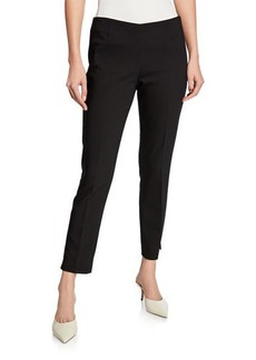 Neiman Marcus Lisa Mid-Rise Straight-Leg Cropped Pants