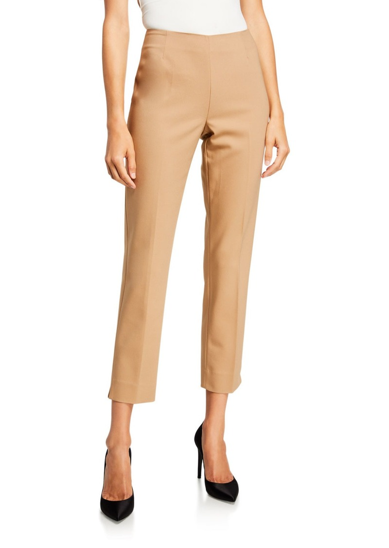 Neiman Marcus Lisa Mid-Rise Straight-Leg Cropped Pants