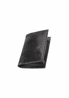 Neiman Marcus Lizard Business Card Case  Black