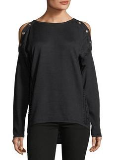 Neiman Marcus Long-Sleeve Cold-Shoulder Grommet Tee