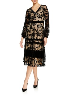 Neiman Marcus Long-Sleeve Flocking Midi Dress