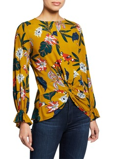 Neiman Marcus Long-Sleeve Floral Twist Blouse