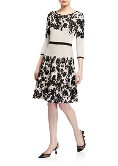 Neiman Marcus Long-Sleeve Knit Floral Dress