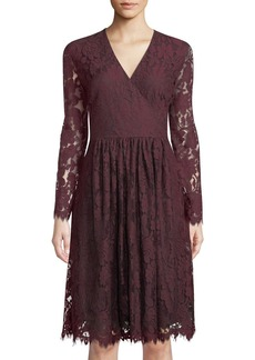 Neiman Marcus Long-Sleeve Lace Fit-&-Flare Dress  Red