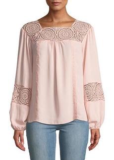 Neiman Marcus Long-Sleeve Lace-Trim Peasant Blouse