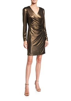 Neiman Marcus Long-Sleeve V-Neck Metallic  Dress