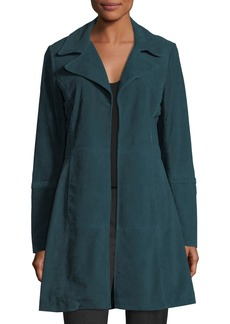 Neiman Marcus Long Whipstitched Suede Jacket