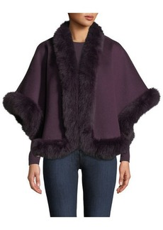 Neiman Marcus Luxury Cashmere Fox Fur-Trim Cape