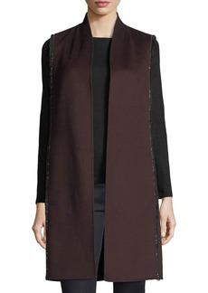 Neiman Marcus Luxury Chain-Trim Double-Face Cashmere Vest