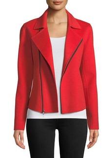 Neiman Marcus Luxury Double-Faced Cashmere Moto Jacket