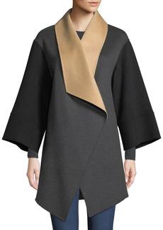 Neiman Marcus Luxury Double-Faced Tricolor Cashmere Wrap Coat