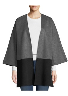 Neiman Marcus Luxury Double-Faced Two-Tone Cashmere Topper