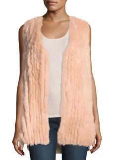 Neiman Marcus Luxury Fox Fur Vest w/ Sequin-Trim Cashmere Back