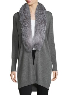 Neiman Marcus Luxury Oversized Cashmere Cardigan w/ Fox Fur Collar