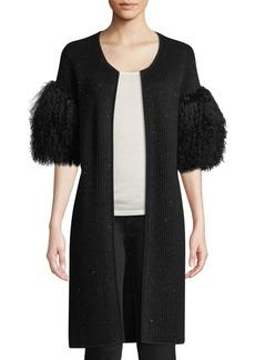 Neiman Marcus Luxury Sequin Cashmere Cardigan with Tibetan Fur Cuffs