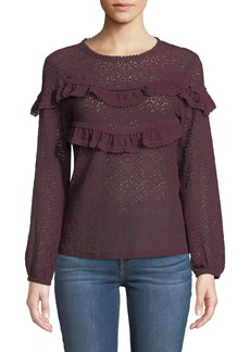 Neiman Marcus Medallion-Lace Long-Sleeve Ruffle-Yoke Blouse