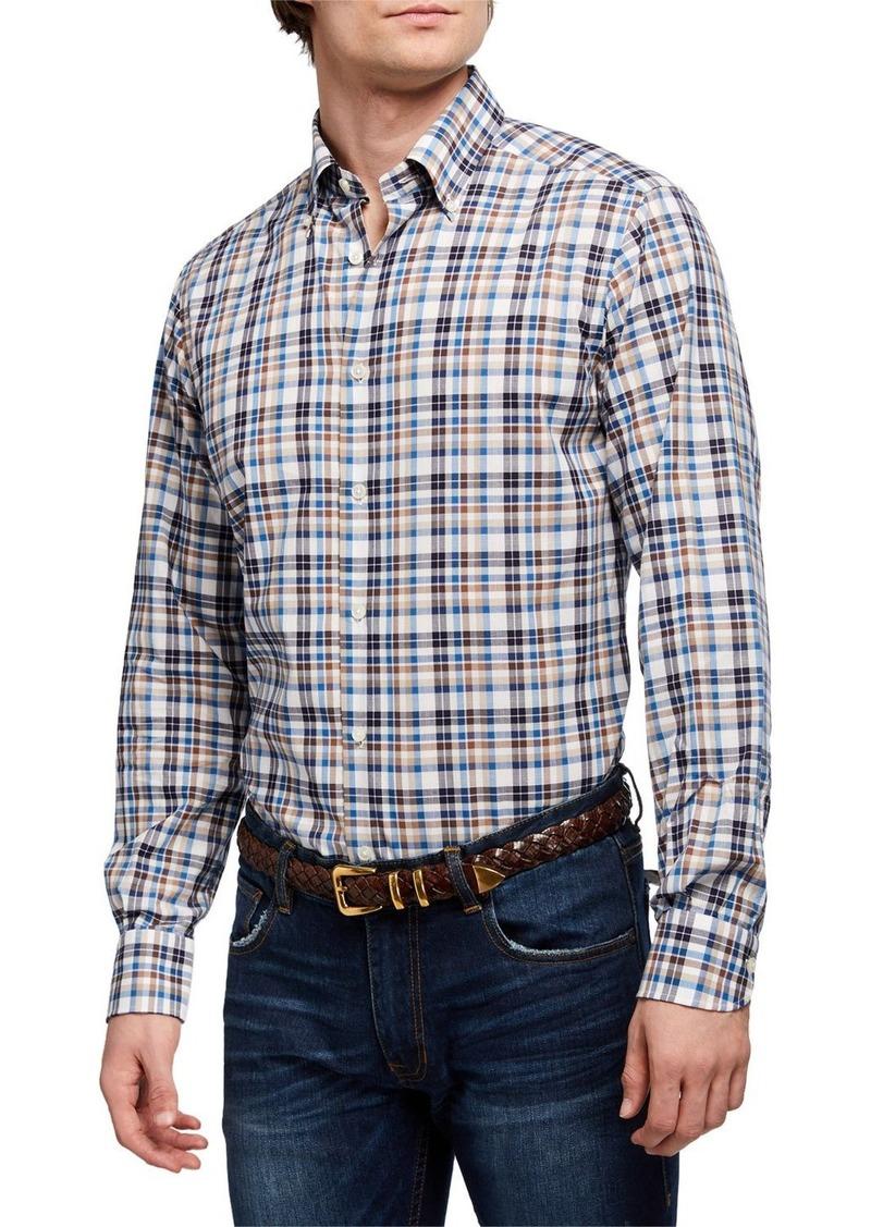 Neiman Marcus Men's Alba Tartan Check Sport Shirt