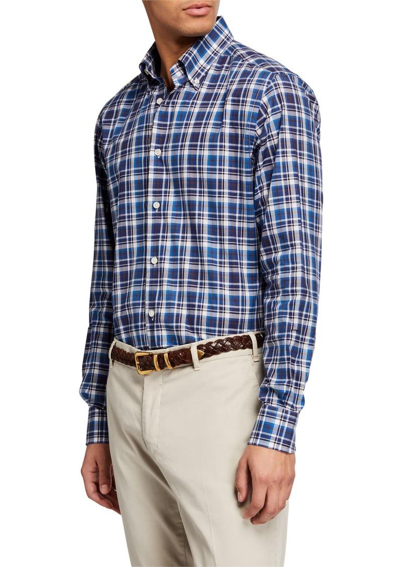 Neiman Marcus Men's Alba Tartan Plaid Sport Shirt