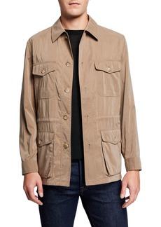 Neiman Marcus Men's Belseta Button-Front Field Jacket