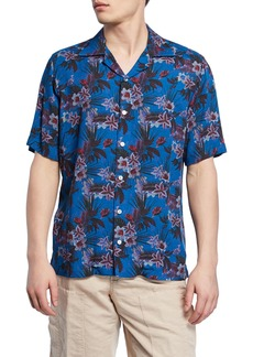 Neiman Marcus Men's Blue Floral-Print Short-Sleeve Sport Shirt