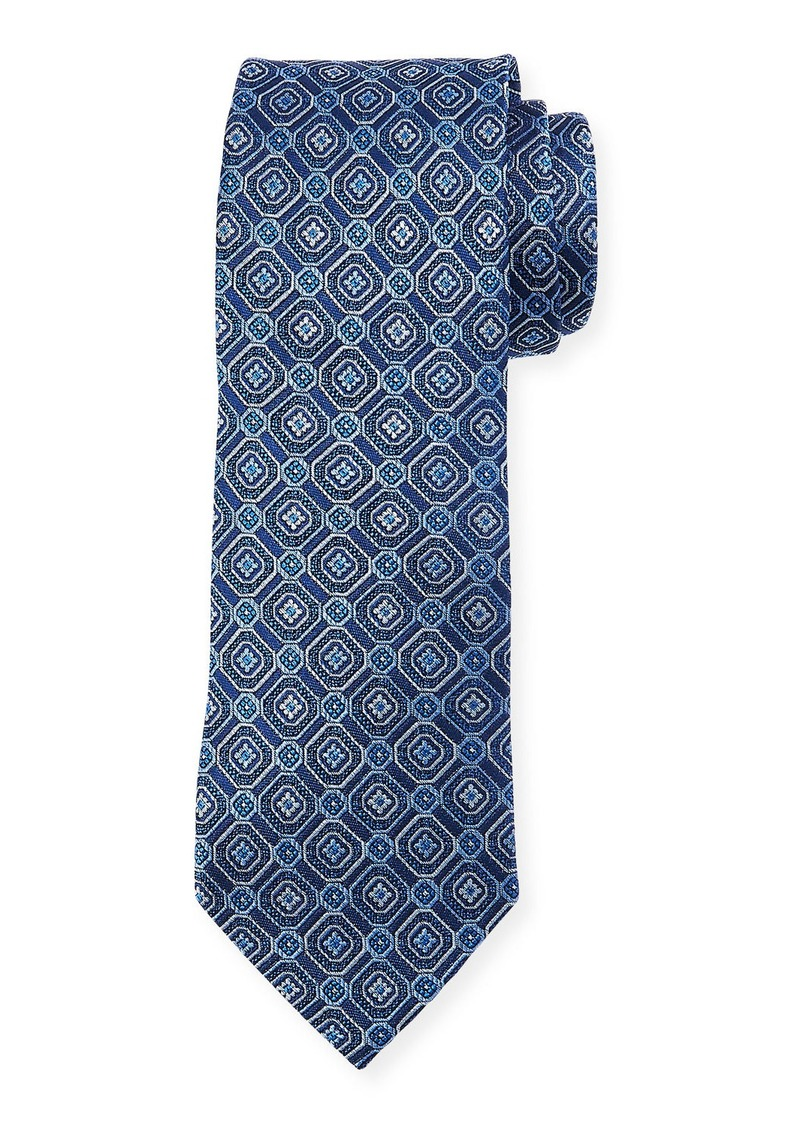 Neiman Marcus Men's Boxed Neat Medallion Print Silk Tie