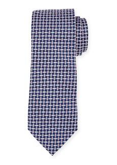 Neiman Marcus Men's Boxed Neat Woven Print Silk Tie