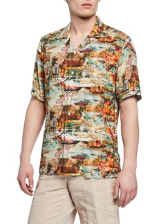 Neiman Marcus Men's Cars-Print Short-Sleeve Sport Shirt