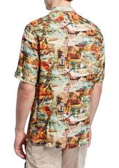 Neiman Marcus Men's Cars-Print Short-Sleeve Sport Shirt