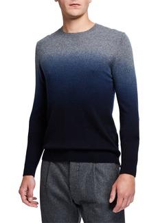 Neiman Marcus Men's Cashmere Dip-Dye Sweater