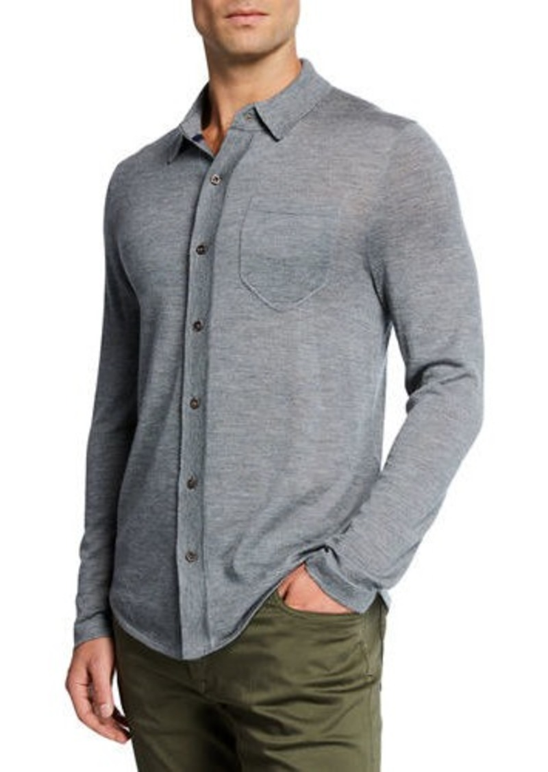 Neiman Marcus Men's Cashmere Knit Long-Sleeve Polo Shirt