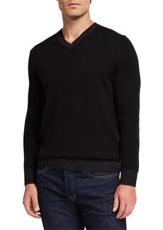 Neiman Marcus Men's Cashmere Plaited-Trim V-Neck Sweater